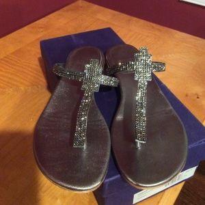 0c44a5e80 Stuart Weitzman Shoes - Stuart weitzman vanity jeweled thong sandal sz 8.5